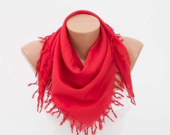 Fringed Scarf ,triangle tassel scarf , summer scarf,woman scarf ,cotton scarf ,red
