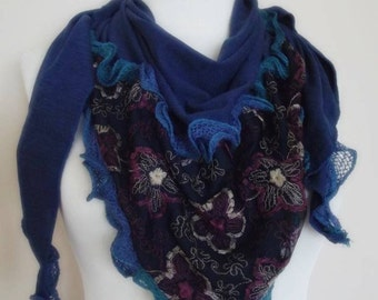 triangle  Bridal Shawl scarf blue knit flowers neck warmer