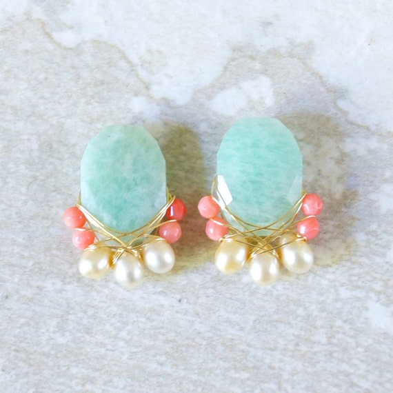 Large amazonite & freshwater pearl wire wrapped cluster studs earrings