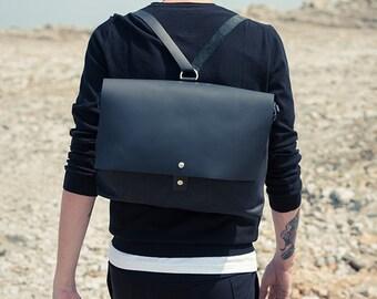 Black leather backpack / leather backpack / man bag/man backpack/ leather messenger bag / large laptop bag / leather laptop bag / cross body