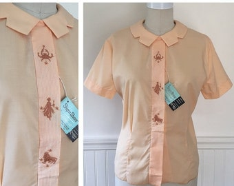 20% OFF - 1950s Astrology Embroidered Blouse--> Dead Stock Vintage 1950s Blouse  -->  50s Blouse --> 50s Shirt --> 1950 Shirt --> 1950s Shir