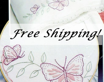 Pillowcases Butterfly Set of 2 Stamped WonderArt 1131