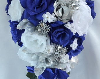 "17 Piece Package Wedding Cascade Bouquet Bride Silk Flowers Bridal Bouquets Decorations Teardrop Navy BLUE SILVER ""Lily of Angeles"" BLSI01"