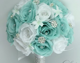 "Bridal Bouquet Wedding 17 Piece Package Silk Flowers Bouquets Artificial Flower Bride POOL ROBIN's Egg Blue Aqua ""Lily of Angeles TIWT01"