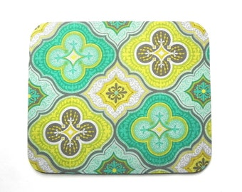 Mouse Pad - Fabric mousepad - Moroccan Tile aqua , yellow, grey and lime green- Home office / computer / Electronic