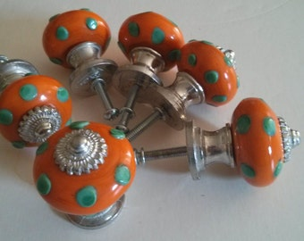Orange Green Polka Dot Drawer Knob