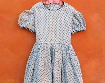 Vintage Girl's 1950s 1960s Light Blue Starburst Pattern Cotton Day Swing Dress. 3T 4T 5T. Pink Periwinkle Olive Turquoise