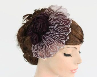 Retro Wedding Head Piece, Bridal Cocktail Headpiece Fascinator, Plum Eggplant Purple Velvet Frilled Lace, Silver Embroidy Historical Wedding