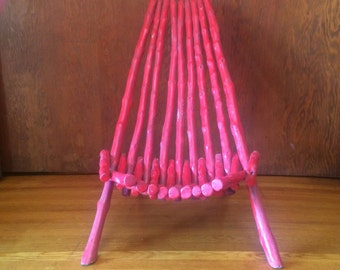 Red painted wood sling chair