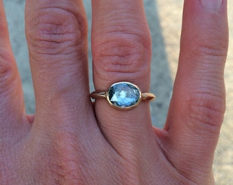 Holiday Sparkle Organic Unheated Rose Cut Ocean Blue Sapphire Ring with Handmade Bezel Setting and band