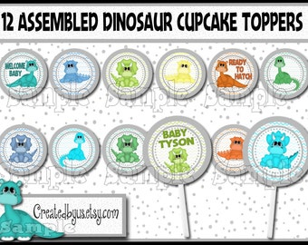 Dinosaur Cupcake Toppers baby shower Decorations Dinosaur Birthday Party personalized Baby shower cake toppers cupcake picks 12 assembled