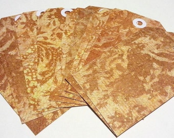 12 Gift Tags Labels Brown Fall Floral Shabby Chic Embellishments Paper Ephemera Journals Scrapbooks Mixed Media Card Calendars Planners