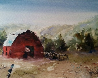 "landscape, barn, farm, horse, country art, red, green- Barnscape 12. Original Watercolor Painting (7"" x 10"")"