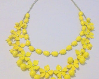 Yellow Enamel Rhinestone Multi Strand Flower Statement Necklace