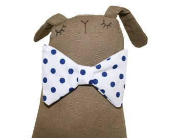 Bunny Rabbit Handmade Toy, Bunny Soft Sculpture, Brown Linen Cuddly Toy Bunny Rabbit with Bow Tie, Birthday Gift for Kids, Baby Shower Gift