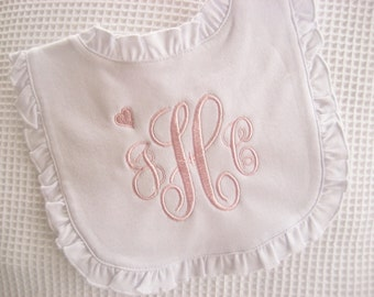 Baptism Bib  Baptism Cross Bib Christening Bib  Monogram Bib Ruffled Bib Baptism Gift Baby Dedication Bib with Cross