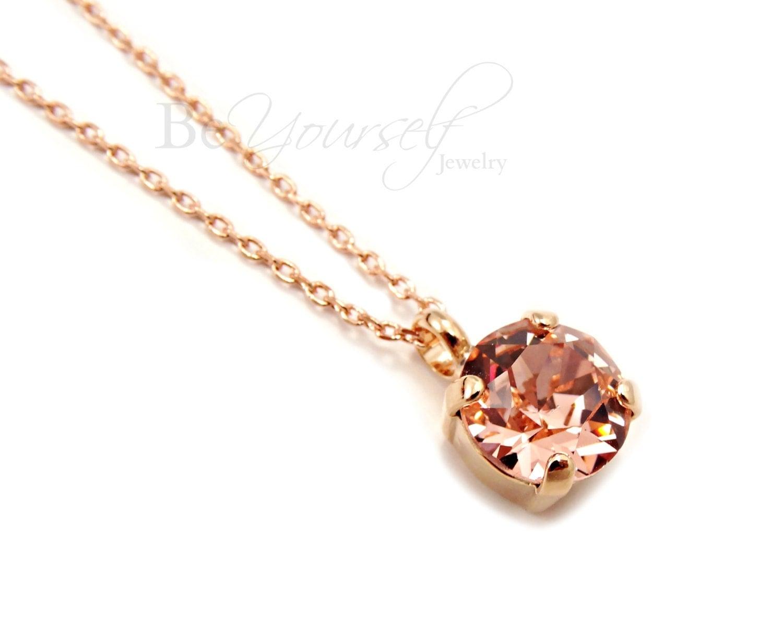 Blush Bridal Necklace Rose Gold Bride Pendant Swarovski Crystal Vintage Rose Solitaire Necklace Pastel Pink Bridesmaid Gift Wedding Jewelry