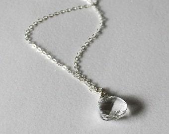 Set of 4 bridesmaids necklaces, Clear Swarovski Crystal necklaces, Sterling Silver, 4 sets tear drop crystal necklaces