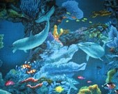 Realistic Dolphins Coral Reef Cotton Fabric Fat Quarter Or Custom Listing