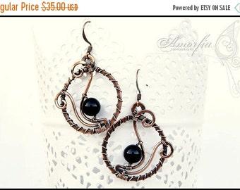 ON SALE Wire wrapped ,  handmade , black onyx , copper earrings