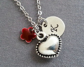 Heart Necklace. Initial Necklace. Silver Heart Pendant. Personalized Gift. Hand Stamped. Love Jewelry. BFF. Gift Under 20