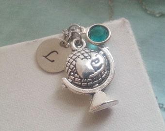 Globe Necklace. Silver Globe Pendant. Traveler Jewelry. Birtshtone Necklace. Initial Necklace. Personalized Necklace