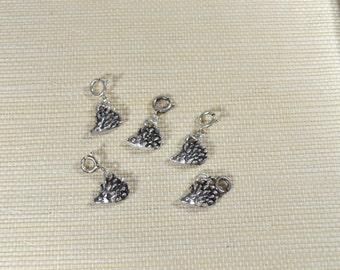 Adorable Hedgehog Charm or Pendant, Handmade in PMC Fine Silver