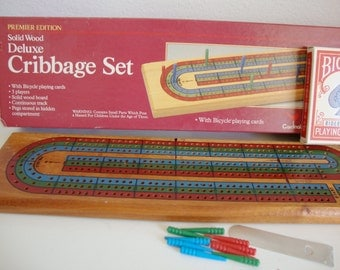 Vintage Wood Cribbage Board, Cribbage Board With Cards