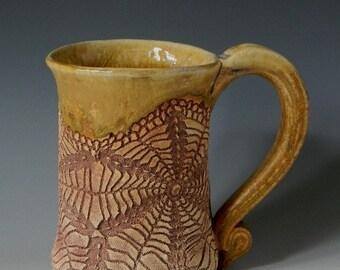Handmade Ceramic Spiderweb Lace-Impressed 16oz. Mug