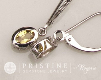 Yellow Sapphire Dangle Earrings 14k Gold September Birthstone Gemstone Jewelry Gift for Her