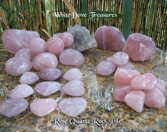 Rose Quartz Gemstone Tumbled Polished - Rock Pile Choice - Heart Palm Therapy Sphere FreeForm Raw SeaSalt Love Stone Chakra Crystal Healing