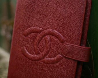 SALE Authentic Vintage Chanel Agenda In Raspery Red Caviar Leather Notebook Cover Organiser