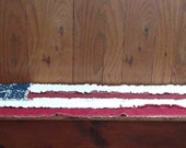 LARGE Rag Quilt Table Runner 15 X 41 Primitive Americana USA Flag Stars and Stripes Handcrafted in Pa Ready to Ship Usa Free Shipping