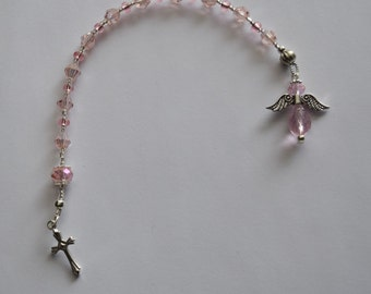 Pocket Rosary/Single Decade Rosary/Tenner/Chaplet/Mini Rosary ~ Pink Crystal Angel Charm