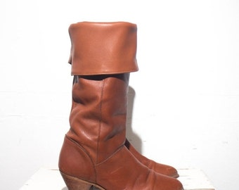 40% off Sale 7 M | 1980's Vintage FRYE High Heel Brown Leather Slouch Boots
