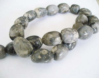 Rhyolite Gemstone Beads Gray Nuggets 16-20x14MM
