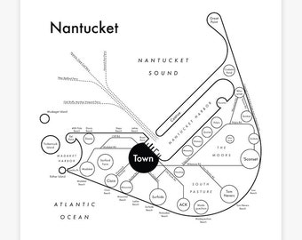 Nantucket Map 8x8 Letterpress cool design letterpress map