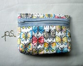 Quilted Butterflies Pouch/ Coin Purse/ I phone Case