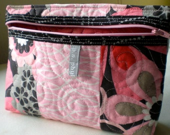 Bright Pink Patchwork Quilted Pouch for cosmetics and travel