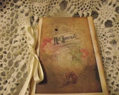 Hane made Art Journal Pocket Journal  Tie With Satin Ribbon Distress Rigid   Edges