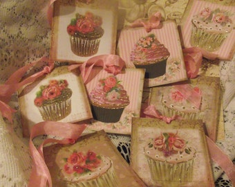 Glittered Cup Cake Gift Tags For Party Favors Scrap Booking Bunting Thank You Tags