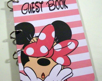 Guest Book, Pink Mouse Party, Pink Mouse Birthday, Party Sign in Book, Pink Mouse Baby Shower, Pink Girl Baby Shower