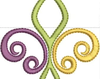 Color Fleur de Lis #2 - Mardi Gras Embroidery Design