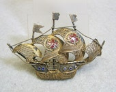 Goldplated Wirework and Enamel Spanish Galleon Brooch, Vintage,