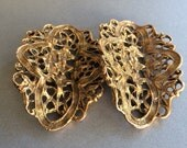 Burnished Gold Lacy Bent Victorian Style Shoe Clips
