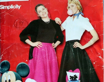 Disney's Simplicity Pattern 0622 Circle Skirt Mickey Mouse 2 Appliques Included Size 8 to 18 50s Costume Skirt