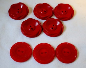 Red Button Lot Vintage two Styles One bonus button