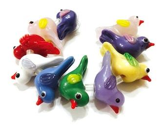 Lampwork Glass Bird Beads Animal, Dove 10 beads, different colors