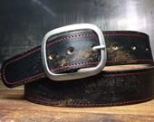 Leather Belt - Red Stitched Vintage Aged Leather Belt - Leather Snap Belt - Distressed Belt - Handmade in USA