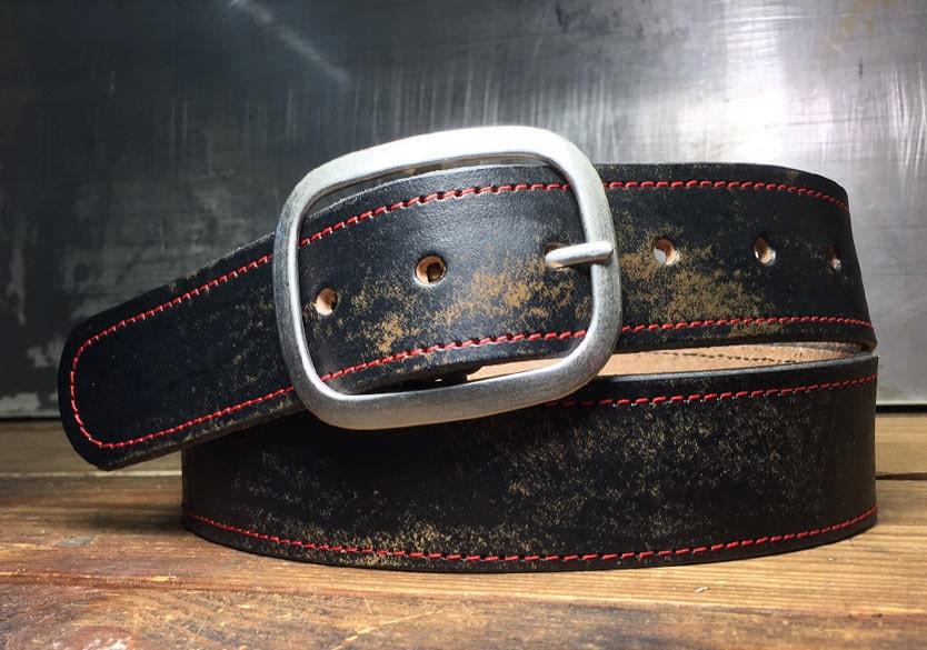 leather belt stitched vintage aged leather belt